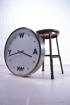 Mid 20th Century Industrial Large Metal Clock Factory Yorkshire Office Restore