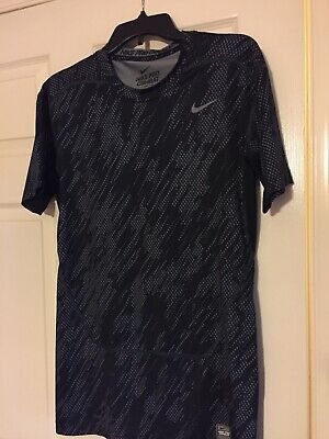 free shipping a8e4c 4ada8 Nike Pro Combat Mens Compression Shirt Black Fitted Short Sleeve Dri Fit.  Fits M