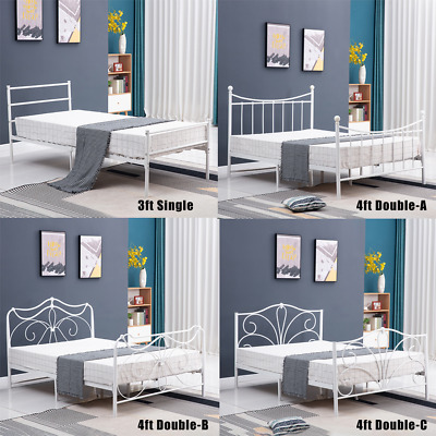 3ft Single & 4ft6 Double White Metal Bed Frame Bedstead Slatted Without Mattress