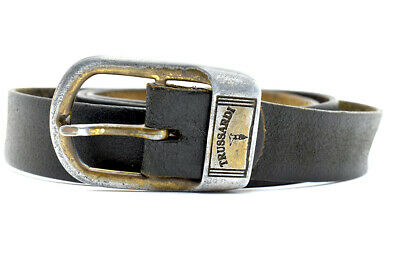 Trussardi Vintage Mens Real Leather Belt Black Size 42