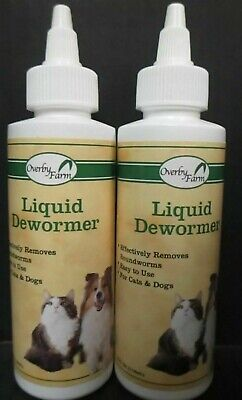 2 Full Size Bottles OVERBY FARM - LIQUID DEWORMER FOR CATS & DOGS -EXP: 01/2020