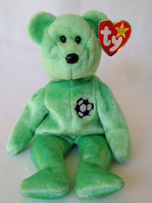 c887271eed1 TY BEANIE BABIES KICKS The Bear Soccer Ball Tag Errors 1998 Retired ...