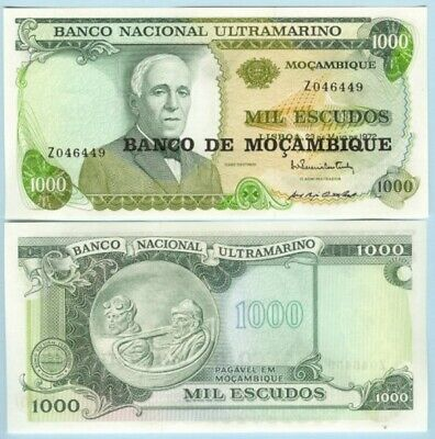 "Mozambique 1976 1000 Escudos Replacement note prefix ""Z"" Mint UNC - # NTO50a 03"
