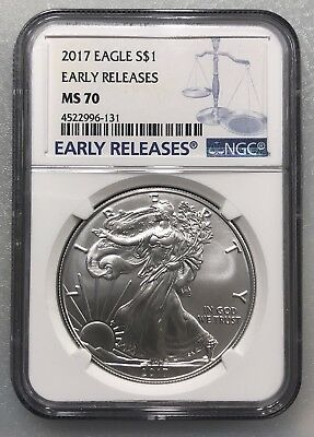 2017 Early Release .999 1 oz Silver American Eagle .999 NGC  MS 70 Blue Label.