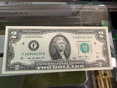 New 1 Uncirculated $2 Two Dollar  Lucky 🍀 Bill Crisp Atlanta Series 2013