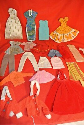 Vtg Lot 25 pcs. Hand Sewn Barbie Doll Clothes Homemade Dresses Gowns 50s 60s