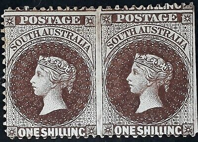 Rare 1897- South Australia Imperf Between pair of 1/- Chocolate Sideface stamps