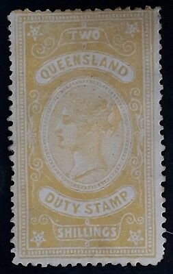Rare 1892- Queensland Australia 2/- Yellow Orange QV Duty Stamp Mint
