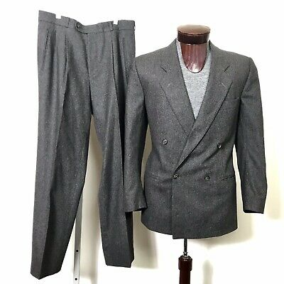 8530493fd VTG HUGO BOSS Made In WEST GERMANY Double Breasted Suit Virgin Wool 42R 70s  80s