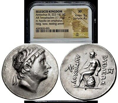 Seleukid Kingdom Antiochos III Antiochus The Great AR Tetradrachm NGC XF