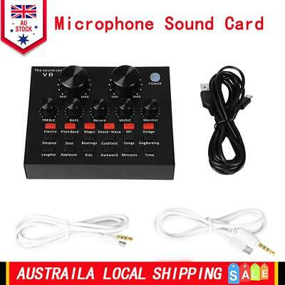 AU V8 Audio USB Headset Microphone Webcast Live Sound Card for Phone Computer PC