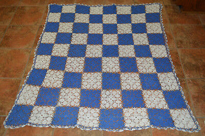 Vintage Crochet Tablecloth Blue And White Scalloped Edge Excellent Condition