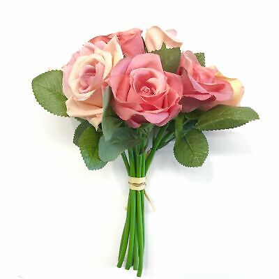 Artificial Fabric Rose Flower Bouquet Bunch - Coral and Pink