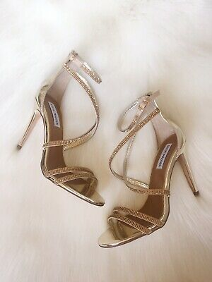2002f82838a NEW STEVE MADDEN Gold Heels Strappy Metallic With Rhinestones Formal Size  7.5