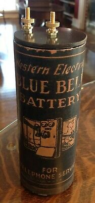 Antique Refillable #6 Western Blue Dry Cell Battery Telephone, Radio, Lantern