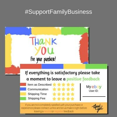100 Ebay Thank You Cards Seller Feedback Ebay Business Cards 5 Star Review