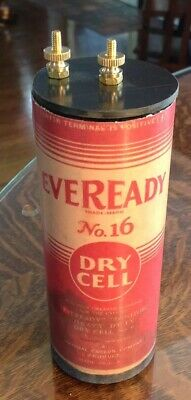Antique Refillable #6 Eveready Dry Cell Battery Telephone, Radio, Lantern