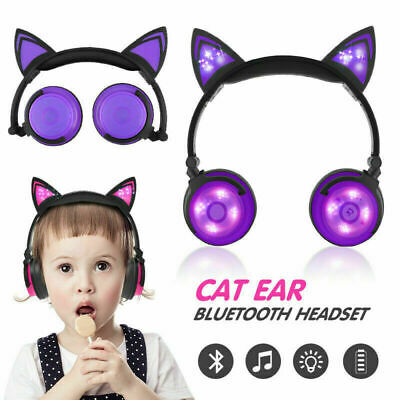 Foldable Bluetooth Wireless Cat Ear Headband LED Light Headphones Headset Gifts