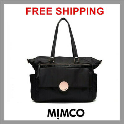 AUTHENTIC Mimco Waver Baby Bag Nappy Large Black ROSE GOLD Nylon BNWT PPR$299