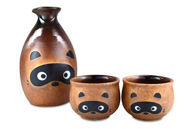 Mino Ware Traditional Japanese Sake Set Bottle and 2 Cups Japanesr Racoon Dog