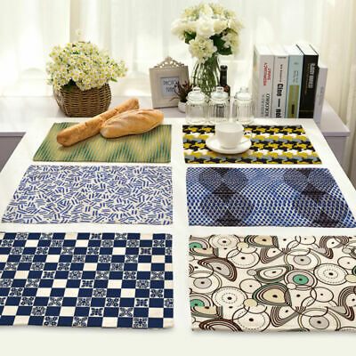 Color Abstract Geometric Cotton Linen Placemat Dining Table Mat Home Kitchen