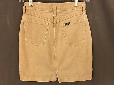 VTG 70s / 80s Osh Kosh Children's Tan Denim Skirt Talon Zipper Size 14 Made USA