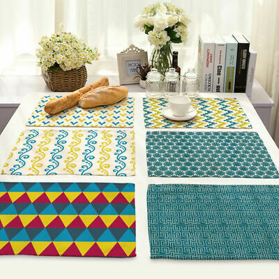 Table Mat Linen Home Abstract Cotton Geometric Kitchen Print Placemat Dining