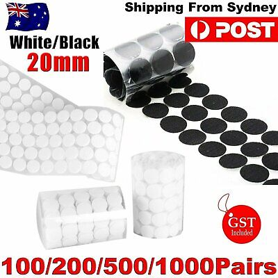 100-1000 Hook and Loop Sticky Self Adhesive Dots Coins Circles Tape 20mm Black W