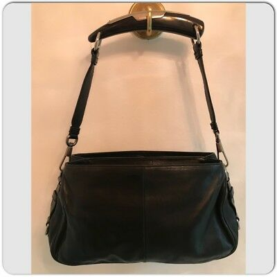 35d64060a2dc Yves Saint Laurent Mombasa Horn Shoulder Bag Black Soft Leather Suede inside