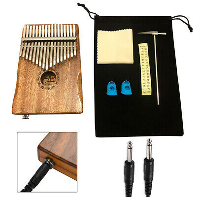 17 Keys Kalimba Thumb Piano Mahogany Wood Musical Instrument Finger Percussion
