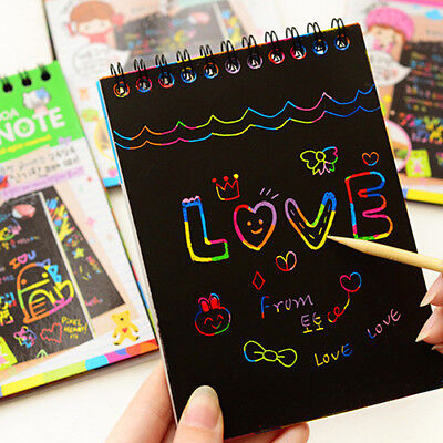 KF_ Kids Rainbow Scratch Art Kit Magic Drawing Painting Paper Notebook Childre