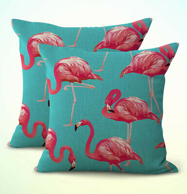 Us Er Set Of 2 Flamingo Pink Turquoise Patio Furniture Cushions Covers