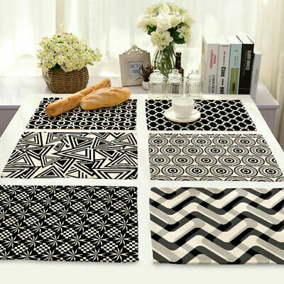 Striped Print Insulation Cotton Linen Placemat Dining Table Mat Home Kitchen