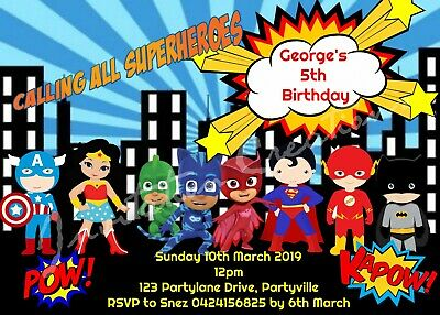 DIY Print Custom Children Girl Boy KIDS SUPERHEROES Birthday Invitations