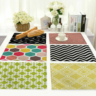 Decor Abstract Geometric Cotton Linen Placemat Dining Table Mat Home Kitchen