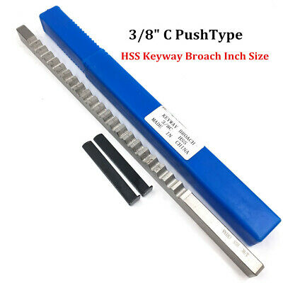 "3/8"" C Push Type Keyway Broach 3/8 Inch HSS Cutter & Shim CNC Metalworking Tool"