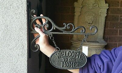 New Cast Iron Welcome Wall Art,French Provincial Looking,Chic,Decor,Garden