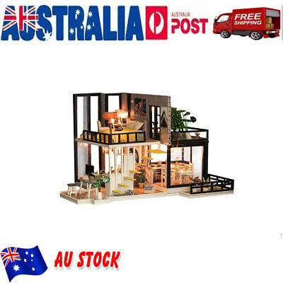 AU DIY Wooden Toy Doll House Miniature Kit Caravan Dollhouse with LED Lights