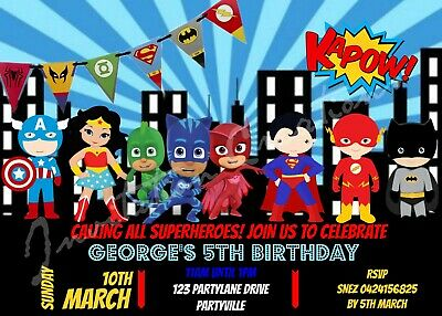 DIY Print Custom Children Girl Boy KIDS SUPERHEROES Birthday Invitation