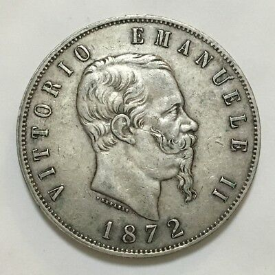 1872 Italy 5 Lira (Milan Mint) , Silver Coin - Good Very Fine
