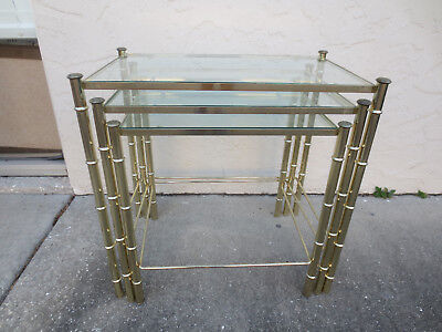 Faux bamboo Nesting 3 End Tables Metal Hollywood Regency Mid-century Modern Gold