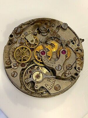 Vintage Lemania 1270 Chronograph Movement Not Working For Parts Or Repair