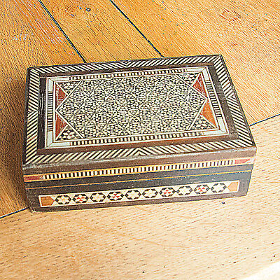 Antique Small Eastern Rectangle Intricate Wooden Inlaid Trinket Box