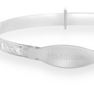 Personalised Any Name 925 Silver Plated Christening Expand Bangle Kids Bracelet