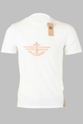 Original DOCKERS Mens Short Sleeve Tee Crew Neck Orange Logo White Color T-Shirt
