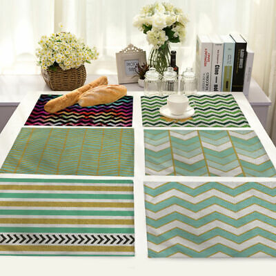 Abstract Waves Stripes Cotton Linen Placemat Dining Table Mat Home Kitchen