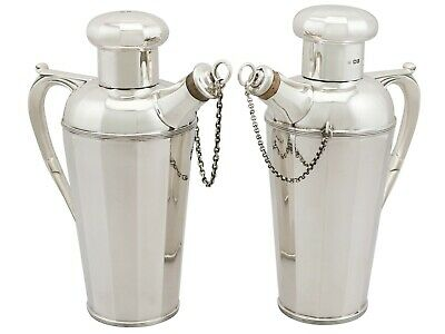 Antique George V Art Deco Style Sterling Silver Cocktail Shakers