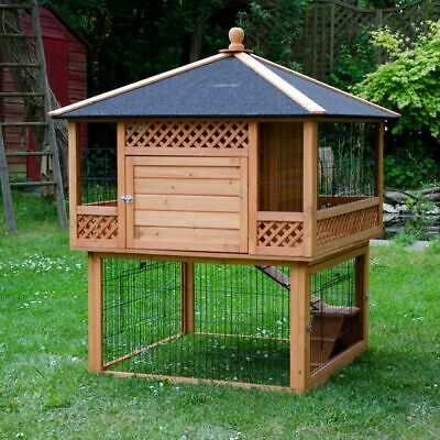 Large Wooden Outdoor Rabbit Hutch Guinea Pig Pagoda  Integrated Run