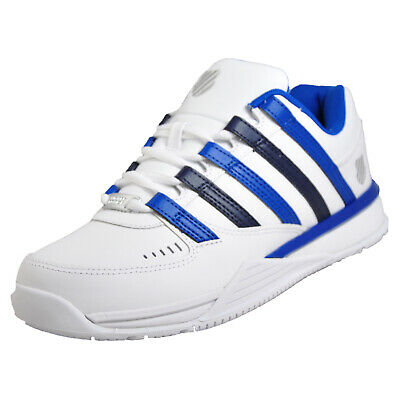 K Swiss Baxter Mens Classic Trainers Retro Court Inspired White Blue Navy