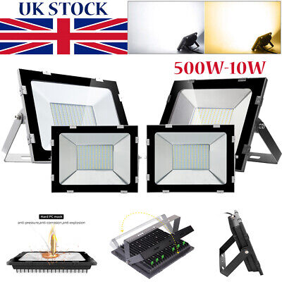 Slim LED Flood Light 500W-10W SMD Outdoor Security Waterproof IP65 Floodlight UK